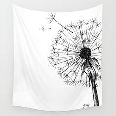 """Dandelion""Wall Tapestry - Illustration by @Akbaly #illustration #Illustrator #Akbaly #Floral #Floralillustration #botanicalillustration #lineart #drawing #art #linedrawing #ink #flowers #beautiful #botanical #society6 #walltapestry #homedecoration #dandelion #blackandwhite"