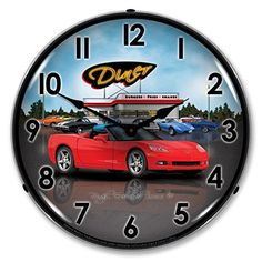 Retro C6 Corvette Convertible Diner Lighted Wall Clock 14 x 14 Inches ** Want to know more, click on the image. (This is an affiliate link) #Clocks