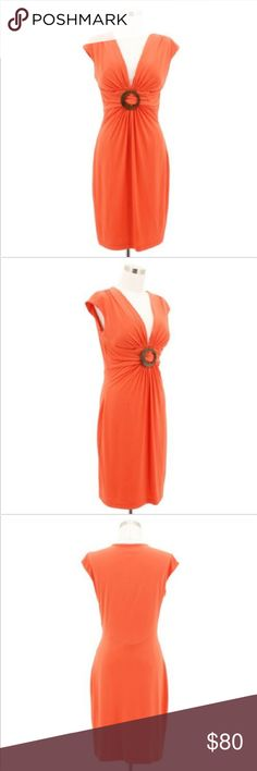 b438c539011 A20 CACHE Designer Dress Size 10 Orange Solid Lining  Yes Stretchy  Yes Zip  closure