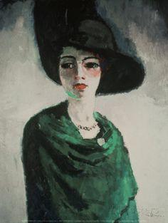 De dame met de zwarte hoed Kunstdruk