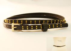 Skinny belt with gold studs Skinny Belt, Gold Studs, Leather, Accessories, Ornament