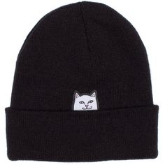 Lord Nermal Beanie (Black) RIPNDIP ($26) ❤ liked on Polyvore featuring accessories, hats, beanie caps, logo beanie hats, woven hat, beanie hat and logo beanie