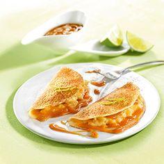 Crêpes banane citron vert nappage caramel beurre salé