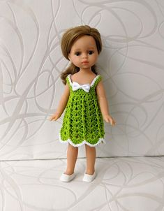 Clothes for mini dolls Paola Reina, doll 8,27 inch/21cm crochet dress for doll clothing Barbie Clothes, Barbie Dolls, Doll Shop, Dress With Cardigan, Handmade Dresses, Crochet Cardigan, Dress Making, Curvy, Summer Dresses