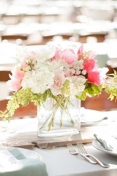 Wedding #Centerpiece | Wedding Colors: Shades of Pink + Coral | Wedding on SMP: http://www.stylemepretty.com/2013/04/29/newport-beach-wedding-from-ashlee-raubach |   Photography: Ashlee Raubach