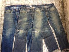 A Series Of Personal And Evolutionary Denim Fades Denim Jacket Men, Denim Jeans Men, Blue Jeans, Denim Shorts, Abercrombie Men, Nudie Jeans, Levis, Men Photoshoot, Raw Denim