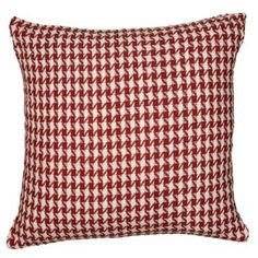 Check out this item at One Kings Lane! Houndstooth 22x22 Cotton Pillow, Red