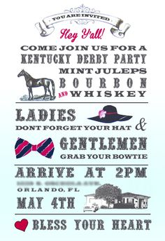 ♔ Derby party invitation