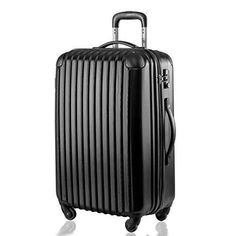 LARGE SUITCASE 4 TROLLEY BAG CASE HARD-PACK NEW LOCK SECURE BLACK FREE POSTAGE
