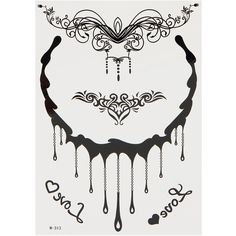 Yoins Henna Black Necklace Temporary Body Tattoo Sticker ($4.14) ❤ liked on Polyvore featuring accessories, body art and black