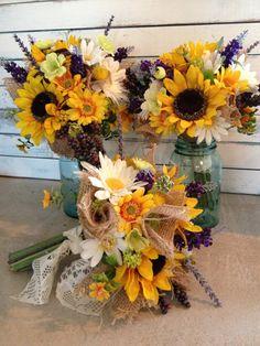 Sunflower Bouquets - Set of 3, and 3 Boutonnières - Rustic Sunflower Bouquets