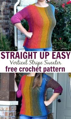 Crochet Blusas Patterns Straight up EASY Vertical Stripes crochet pattern by Heart Hook Home - Vertical stripes are slimming, so grab your hook ladies and gentlemen because this vertical stripes sweater crochet pattern is STRAIGHT UP EASY! Mode Crochet, Crochet Cardigan, Crochet Shawl, Easy Crochet, Crochet Yarn, Crochet Sweaters, Crochet Tops, Crochet Mandala, Crochet Jumpers