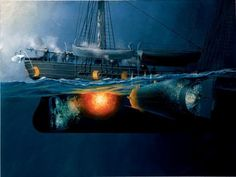 TheSinking of USSHousatonicon 17 February 1864 during theAmerican Civil Warwas an important turning point innaval warfare. TheConfederate StatesNavysubmarine,H.L. Hunleymade her first and only attack on aUnionNavywarship when she staged a clandestine night attack on theUSSHousatonicinCharlestonharbor. TheHunleyapproached just under the surface, avoiding detection until the last moments, then embedded and remotely detonated aspar torpedothat rapidly sank the Housatonic.