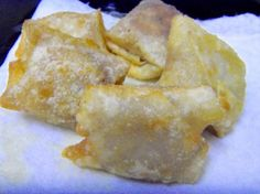 I just had these banana won ton wrappers for dessert at a school event.  They were awesome, especially with powdered sugar and fresh red raspberries on top.