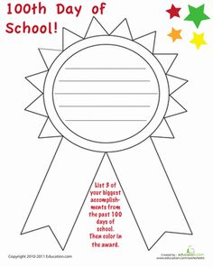 More and more schools are beginning to celebrate the day of school. Help your child list her biggest accomplishments from the first 100 days of school. Writing Lesson Plans, Writing Lessons, Writing Activities, Fun Activities, The School Run, 100 Days Of School, First Day Of School, School Stuff, 1st Grade Worksheets