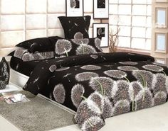 You don't normally see dandelions on bedsheets, but this works. Charisma Brown Dandelion Flying 4 Piece Printed Bedding Set (10489825)