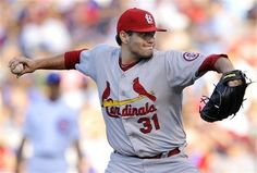 starting pitcher Lance Lynn delivers a pitch during the first inning of a baseball game against the Chicago Cubs.. Cards lost the game 6-4.  7-13-13