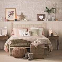 caramel, vanilla and blush room, a comfy storage rack behind the bed