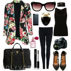 Maybe replace the floral jacket with a solid color and make the black top a print