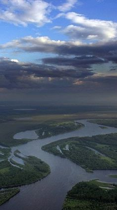 Ob- Irtysh River- U.S.S.R. - Asia - In the heart of western Siberia,the lower Ob and its major tributary, the Irtysh, combine the longest waterways in the world.