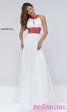 High Neck Keyhole Cut Out Long Prom Dress by Sherri Hill