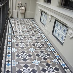 For the cement landing to the pool Olde English Tiles Australia - Fitzroy pattern with Norwood border Hall Tiles, Tiled Hallway, Victorian Hallway, Victorian Tiles, Hall Flooring, Best Flooring, Porch Tile, Hallway Colours, Exterior Tiles