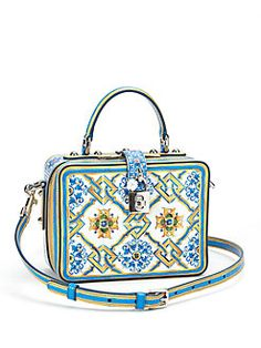 Dolce & Gabbana - Tile-Print Leather Top-Handle Bag So Vintage, So Classy!