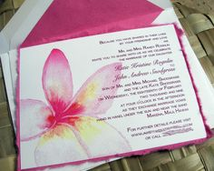 """Beautiful pink plumeria invitation that is sure to wow your guests at your tropical destination wedding or event! 5"""" x 7"""" invitation includes: ~Hand torn fuchsia mulberry paper ~Watercolor design on 90# cardstock ~Hand lined inner envelope Envelope printing is in standard black. Reply cards sold separately. Minimum order of 25. To order sample, add 1 to your shopping cart."""
