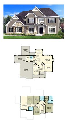 Traditional House Plan 54084 | Total Living Area: 2585 sq. ft., 4 bedrooms and 2.5 bathrooms. #traditionalhome