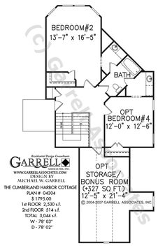 Cumberland Harbor Cottage House Plan # 04304, 2nd Floor Plan, Coastal Style House Plans, Southern Style House Plans