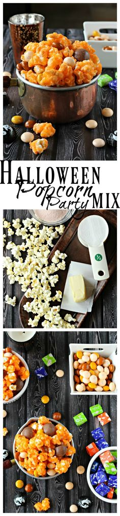 Orange candy-flavored popcorn mixed with Halloween candies makes for a spooky treat! Everyone will love this Halloween Popcorn Party Mix with bright orange popcorn & candy. Popcorn Mix, Candy Popcorn, Flavored Popcorn, Popcorn Recipes, Snack Recipes, Dessert Recipes, Halloween Popcorn, Halloween Snacks, Halloween Stuff