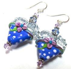 Lampwork Earrings Handmade Lampwork Hearts by SeeMyJewelry