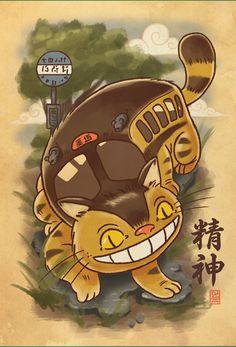 """Nekobasu Scroll"" by Bamboota Inspired by My Neighbor Totoro Chat Bus, Totoro Shirt, Mei Totoro, Day Of The Shirt, Geek Shirts, Fans, Animal Room, My Neighbor Totoro, Animation"