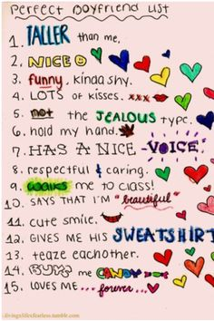 Perfect Boyfriend List... i need one of these