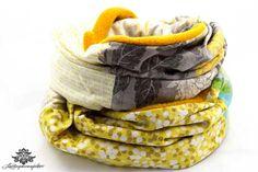 Loopschal von #Lieblingsmanufaktur: Schal gelb, grau und blau