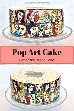 Comic Cake / Pop Art Cake im inneren ist eine Sex on the beach Torte Handbemalte Torte (Handpainted Cake) Ausgefallene Torte Rezept Fondanttorte für Geburtstag