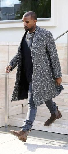 Kanye West's - Saint Laurent Black and White Coat and Bottega Veneta Chelsea Boots - justjune