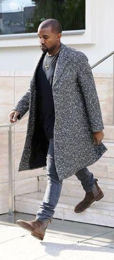 Kanye West's - Saint Laurent Black and White Coat and Bottega Veneta Chelsea Boots - justjune