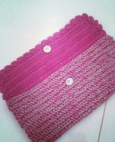 Bolsa ! Modelo carteira em Crochê ! ♥ Crochet Pouch, Wallet, Templates