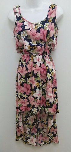 Wex Sz Small Pink Blue Floral Sleeveless Blouson High Low Dress B275 #Wex #BlousonMaxi #Casual