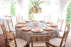 Beautiful tablescape, love the coral and grey!