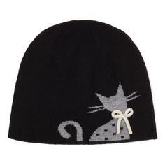 Beanie Hat - Luxury Wool Mix - Grey Cats with White Woollen Bow