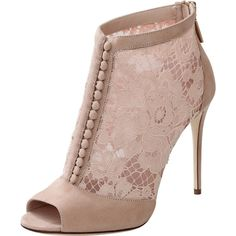 Dolce & Gabbana  Keira Lace Button Front Bootie ($1,295) ❤ liked on Polyvore featuring shoes, boots, ankle booties, heels, booties, zapatos, lace-up ankle booties, lace peep toe booties, lace-up booties and high heel bootie