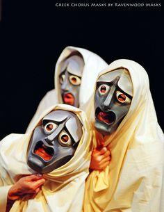 Greek theatre tragedy chorus masks by Alyssa Ravenwood http://www.ravenwoodmasks.com/