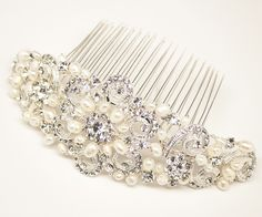 Rhinestone and Pearl Bridal Comb ~ Selena, $114.00 (http://www.haircomesthebride.com/rhinestone-and-pearl-hair-comb-selena/)
