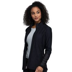 Cherokee Form - This stylish zip-front jacket offers a form fitting contemporary fit. It features front zip pockets, multiple active-inspired seams, power mesh insets at sleeves, and a racer back panel. Cherokee Scrubs, Drawstring Pants, Scrub Tops, Jacket Style, V Neck Tops, Mesh, Pockets, Zip, Contemporary