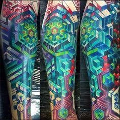 Pattern Tattoos 22186 Innovative Pattern Tattoos by Mike Cole Geometric Tattoos Men, Geometric Sleeve Tattoo, Leg Sleeve Tattoo, Geometric Tattoo Design, Calf Tattoo, Full Sleeve Tattoos, Tattoo Sleeve Designs, Leg Tattoos, Body Art Tattoos