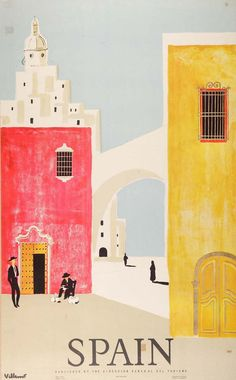 Spain by Villemot - Lithograph in colours printed in 1958 for the Spanish Ministry for Tourism