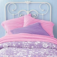 Lilac, pink and pale turquoise-- all A's faves Lace-like flowers for snuggly softness!