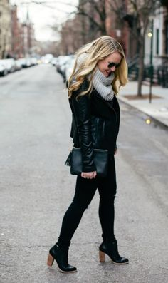 Wit and Whimsy black outfit with gray scarf